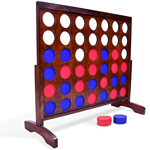 GoSports Giant Dark Wood Stain 4 in a Row Game - Huge 4 Foot Width - with Rules and Tote Bag for Coins