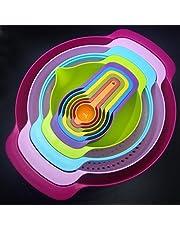 Zehui 10PCS Plastic Mixing Salad Bowls Set With Handles Kitchen Utensil Colorful Rainbow