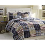 Nautica Chatham Quilted Standard Sham, 20 by 26-Inch, Blue/Stone