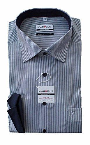 MARVELiS Hemd, Marine Weiß gestreift, Comfort Fit, Bügelfrei