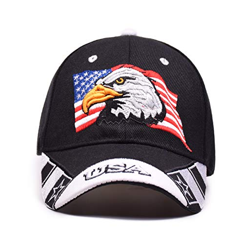 - USA Patriotic American Eagle Hat & Texas State Embroidery Hat Adjustable Baseball Cap Black