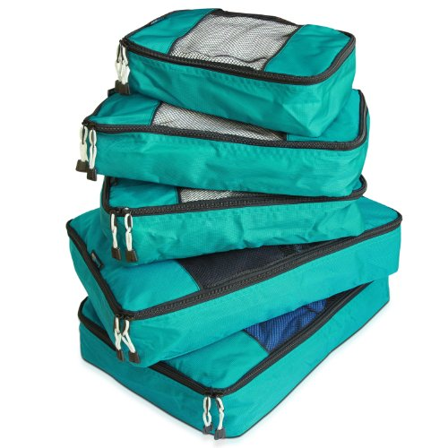 TravelWise Packing Cube System - Durable 5 Piece Weekender Plus Set (Teal) (Double Rolled Handles)