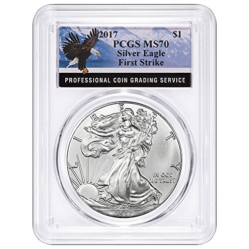 2017 $1 American Silver Eagle First Strike Label $1 MS70 PCGS