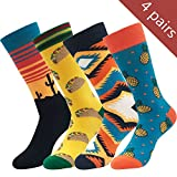 Yijiujiuer Men's Crazy Socks Women's Funny Cool Dress Socks Funky Design Combed Cotton Socks