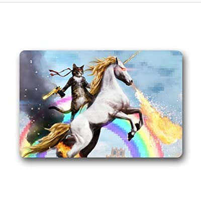 "Sweetshow Custom Cat Unicorn Rainbow Gun Deagle Indoor/Outdoor Doormat Door Mat Decor Rug Non Slip Mats 23.6""(L) x 15.7""(W)"
