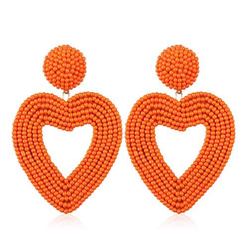 (Statement Beaded Hoop Earrings, Drop Dangle Heart Earrings Bohemian for Women Girl Novelty Fashion Summer Accessories - VE135 Orange)