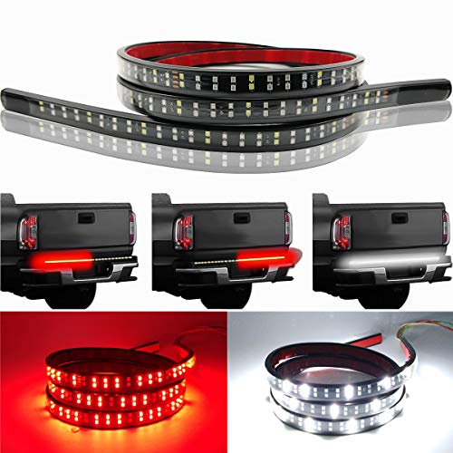 (LivTee 60 Inch LED Truck Tailgate Light Bar Strip Super Bright Tail Brake Backup Reverse Turn Signal Running Lights for Pickup Trailer SUV RV VAN Car Towing Vehicle, Red/White)