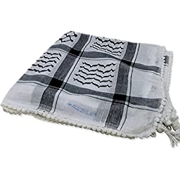 Black Keffiyeh Shemagh Arab Desert Scarf Tactical Army Kafiya 100% Cotton 48\