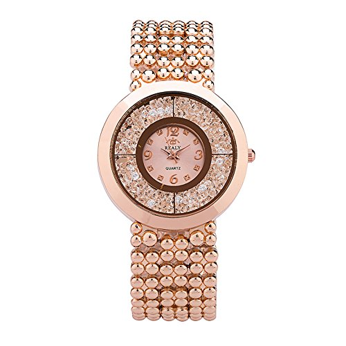 Quartz Movement Stainless Steel Bracelet - Women Watch Rose Gold REALY Stainless Steel Bracelet Wrist Watch