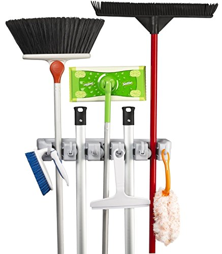 Mop and Broom Holder Kingtop Garage Storage Rack Hooks Wall Mounted Organizer for Home Garden Tool Shelving (5 position 6 hooks)