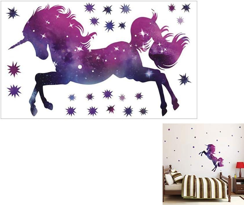 Romote 1pc Unicornio Caballo de Pegatinas de Pared Colección Unicornios Colorido con Las Estrellas Infantiles Impreso Arte de Pared de Vinilo Pegatinas púrpura
