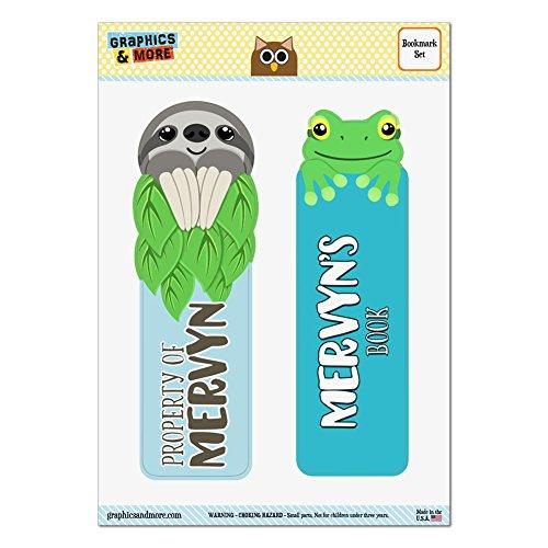 set-of-2-glossy-laminated-sloth-and-frog-bookmarks-names-male-mas-mi-mervyn