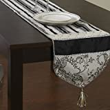 Classic Black and White Patterned Table Runner
