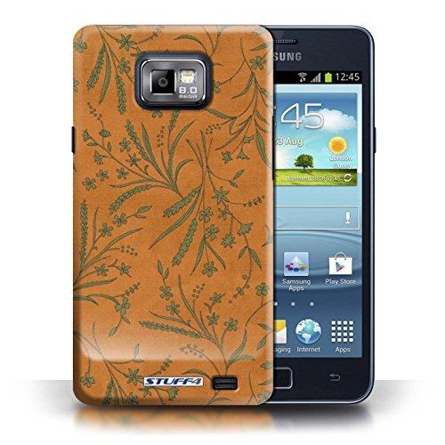 Etui pour Samsung Galaxy S2/SII / Orange/Vert conception / Collection de Motif floral blé