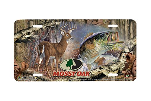 Mossy Oak License Plate - Airstrike Mossy Oak Camo Hunting Fishing Deer and Bass Front Decorative License Plate Made in USA (Made of Metal)-8018