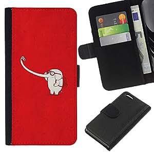 WINCASE Cuadro Funda Voltear Cuero Ranura Tarjetas TPU Carcasas Protectora Cover Case Para Apple Iphone 5C - rojo minimalista blanco lindo