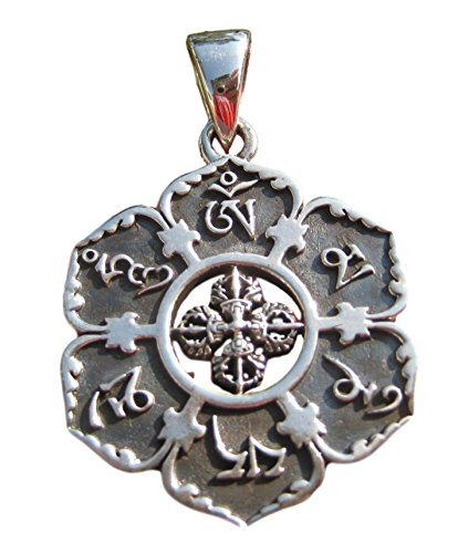Himalayan Treasures 925 Silver Ohm Viswa Vajra Pendant Necklace Buddhist Jewelry Art A7