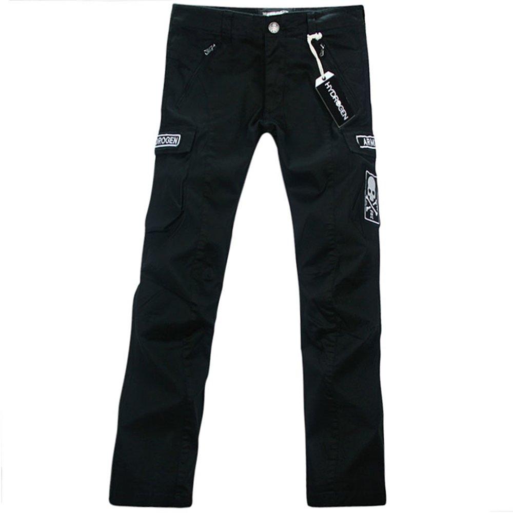 [HYDROGEN] 長ズボン ロングパンツ メンズ ストレッチ ミリタリー 綿 多機能 刺繍 18724599 [並行輸入品] B07F3PNX29 Large|ブラック ブラック Large
