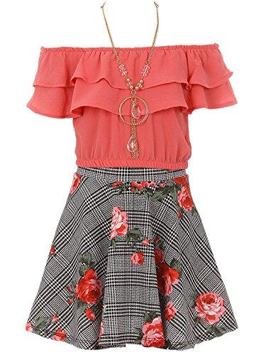 Big Girl 3 Pieces Set Summer Off Shoulder Crop Top T-Shirt Skirt Outfit USA (21JK30S) Coral 12