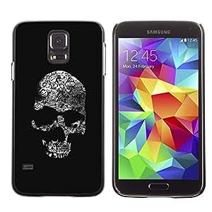 LECELL--Funda protectora / Cubierta / Piel For Samsung Galaxy S5 SM-G900 -- Skull Black Bones White Death Metal --
