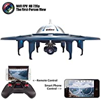 Cytek UDI RC Drone U845 WiFi FPV UFO RC Drone with 720P HD Camera 2.4GHz iOS & Android Phone Control 4CH 6 Axis Gyro RTF Quadcopter with Low Voltage Alarm Gravity Induction and VR Split mode