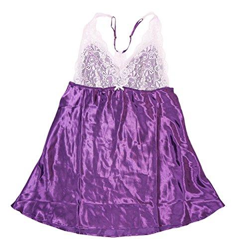 Charmeuse Lace Trim (Flora Womens Emma Charmeuse Lace Trim Chemise Purple M)