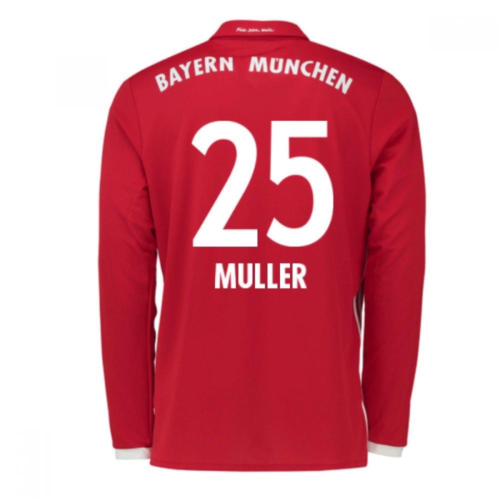 2016-17 Bayern Munich Long Sleeve Home Football Soccer T-Shirt Trikot (Thomas Muller 25) - Kids