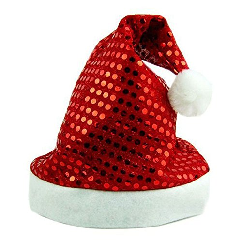 Red Glitter Mini Top Hat (Leoy88 Hot Merry Christmas Party Santa Claus Hats Xmas Cap Shinning Paillette (Red))
