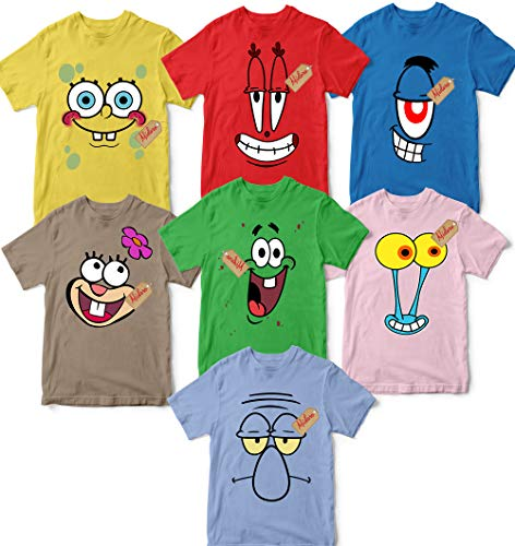 Halloween Cartoons Characters (Family Sponge-Bob Friends Costume Halloween Group Matching Outfit Cartoon Character Unisex T-shirt - Premium T-shirt - Hoodie - Sweater - Long Sleeve - Tank)