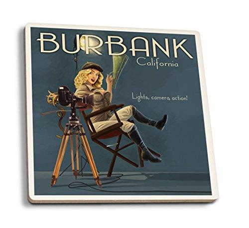 Burbank, California - Directing Pinup Girl (Set of 4 Ceramic Coasters - Cork-backed, - Burbank Kids