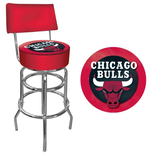 NBA Chicago Bulls Padded Swivel Bar Stool with Back by Trademark Gameroom