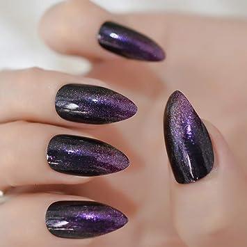 EchiQ - Uñas postizas de color morado con purpurina y negro ...