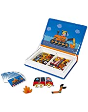 Janod MagnetiBook 69 pc Magnetic Racer Vehicles Game for Imagination Play - Book Shaped Travel/Storage Case Included - S.T.E.M. Toy for Ages 3+, One Color