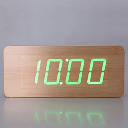 Amazon.com: Star-Five-Store - Wooden Clock Digital LED Desktop Alarm Clock with Green White Light LED Display Wooden Alarm Clock Electronic Clocks Desk: ...