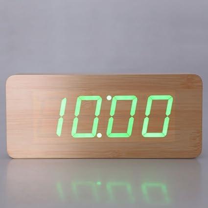 Vktech-Reloj digital con estructura de madera y luz LED, despertador integrado de sobremesa