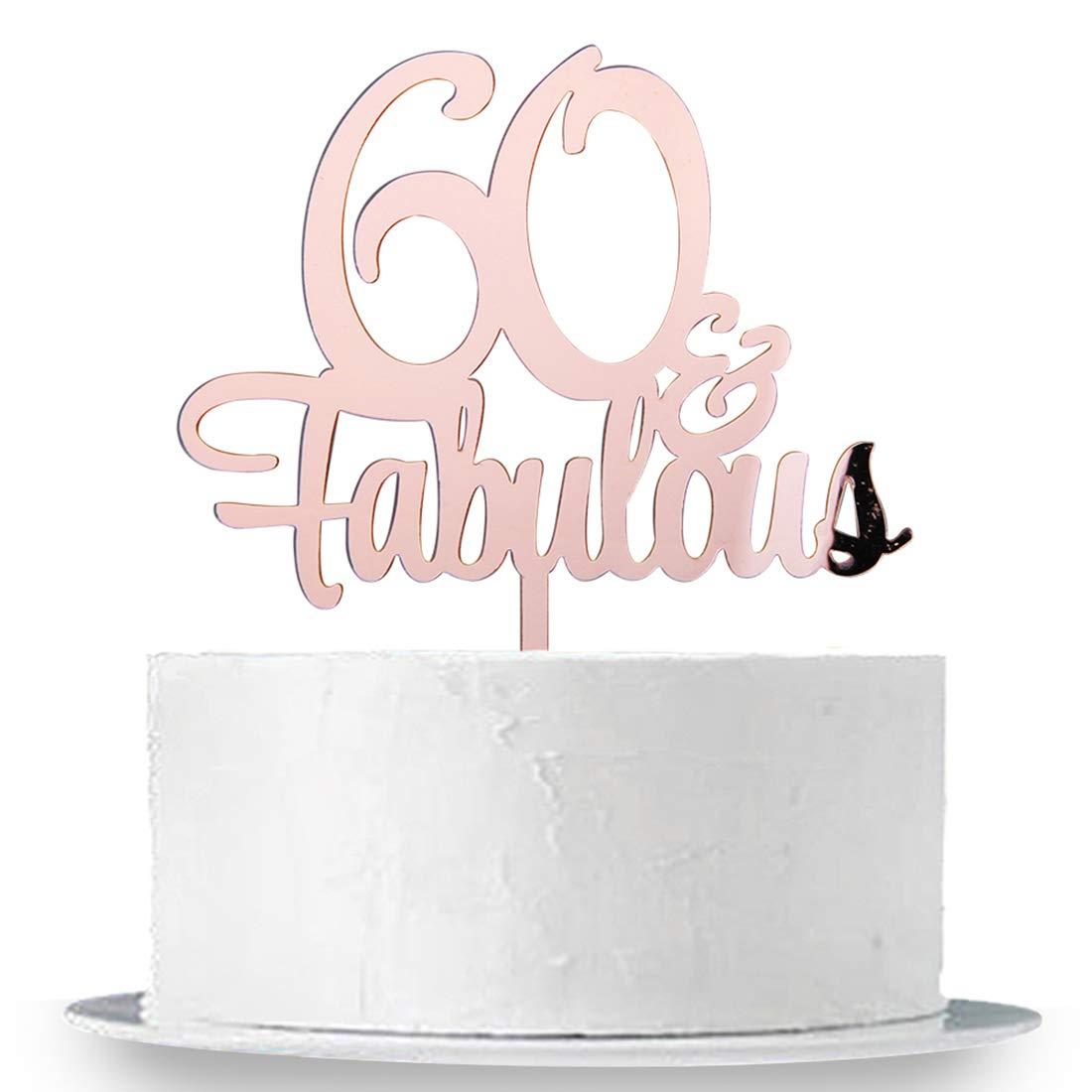 Amazon.com: INNORU 60 & Fabulous Cake Topper, espejo oro ...