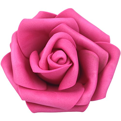 Hot Pink Roses - Lightingsky 7cm DIY Real Touch 3D Artificial Foam Rose Head Without Stem for Wedding Party Home Decoration (100pcs, Rose)