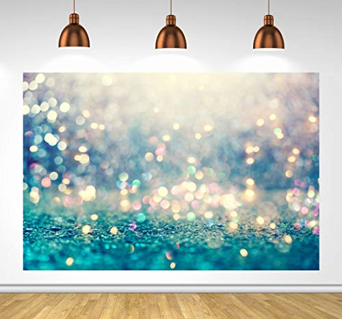 Blue Glitter Bokeh Backdrops for Photography Abstract Spots Children Newborn Baby Shower Portrait Photo Backdrop Happy Birthday for Kids Background Photo Studio Props 6x4ft