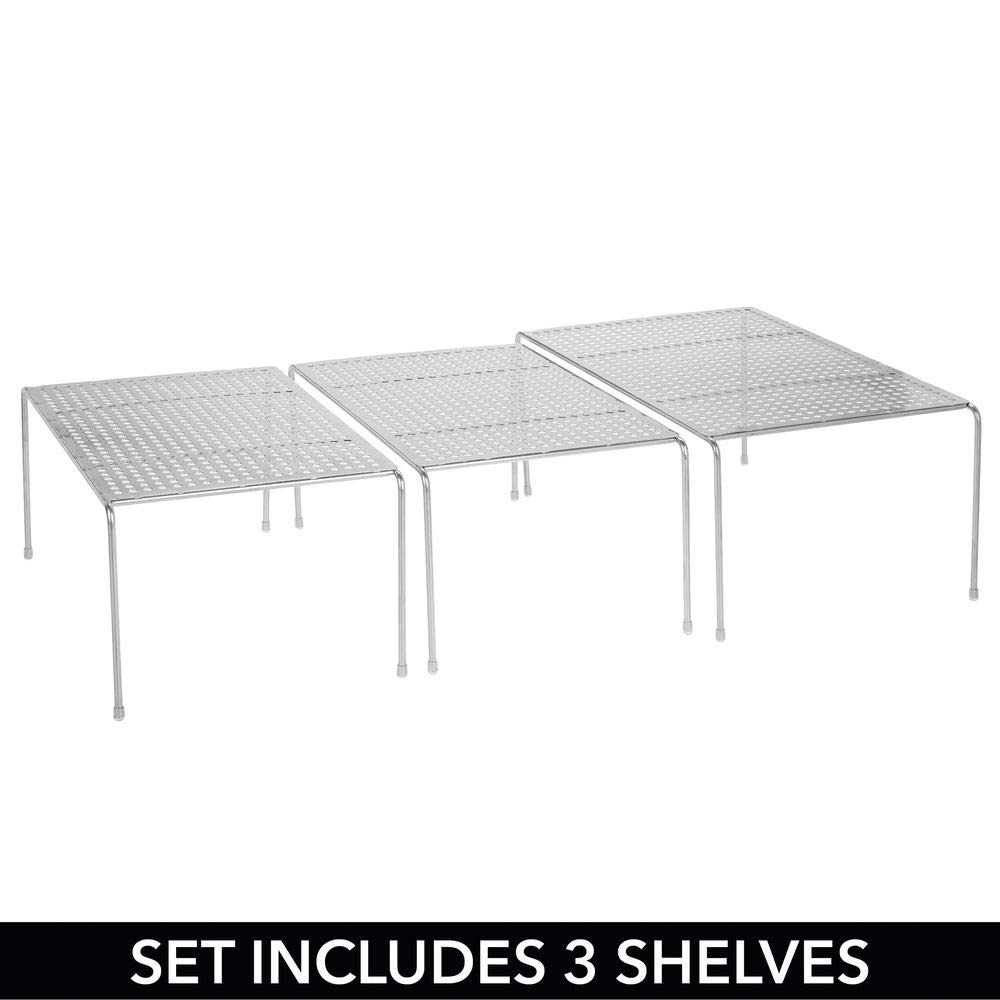 Expandable Kitchen Storage Shelf Pantries mDesign Set of 3 Expandable Shelves Free-Standing Kitchen Shelf Set for Kitchen Cabinets Counter-Tops Silver