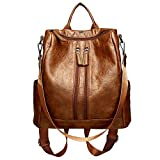 Luxspire Women Backpack Purse PU Leather Fashion Casual School Shoulder Bag with Earphone Hole, Brown