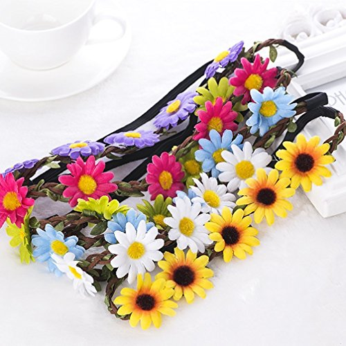 AWAYTR Lady Girl Fashion Bohemian Flower Crown Floral Garland Headbands (B-Mixed Color-9Pcs)