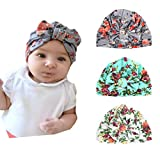 Xinshi Girls Baby Cotton Cloth Turban Kont Toddler Tabbit Ear Hat Kids Set Head Cap (BQD Bow(3PCS))