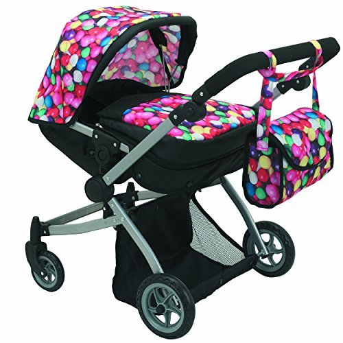Babyboo Deluxe Twin Doll Pram/Stroller Gumball & Black with Free Carriage Bag...