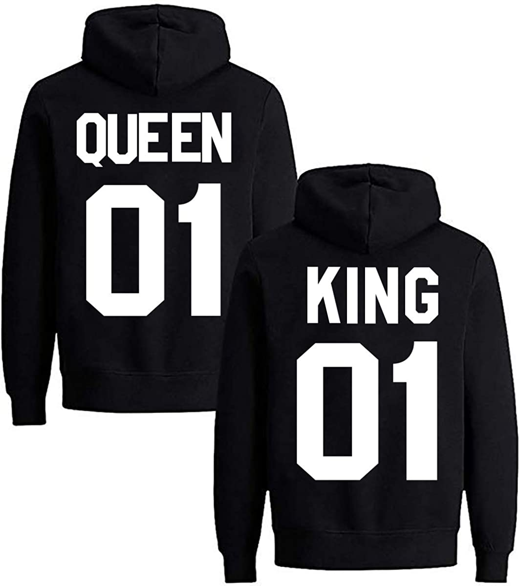Yooh Design King /& Queen Matching Couple Hoodie His /& Hers Hoodies-1 Pcs