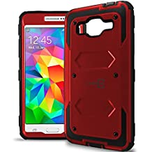 Galaxy Grand Prime Case, CoverON® [Tank Series] Hybrid Hard Armor Protective Phone Case For Samsung Galaxy Grand Prime - Red & Black