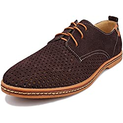 Kunsto Men's Leather Oxfords Dress Shoes Lace up Breathable Upper US Size 9 Brown