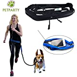 Petparty Pet Jogging Waist Belt Leash Hand Free Leash for Medium to Large Size Dog (Black)