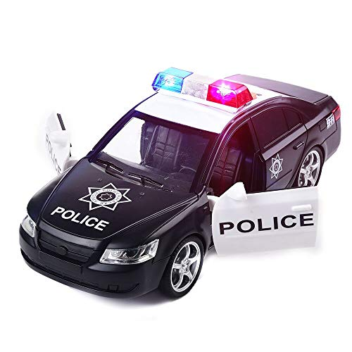 OMGTOY Police Toy Car Friction Powered- Push & Go Heavy Duty Plastic Vehicle Toy with Lights & Siren Sounds 1:16 (Black)