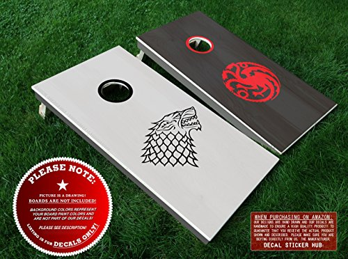 Description Game - Game of Thrones Direwolf and Dragon Cornhole Decals | DIY and Decorate 4PC Vinyl Decal Sticker Set for Cornhole Boards