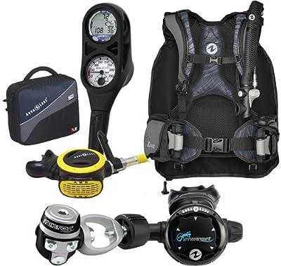 Aqua Lung Travel 9 LBS Scuba Gear Package Zuma BCD i300 Dive Computer Micron Reg Set Reg Bag XL-XXL Black-Blue